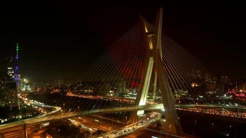 The Octavio Frias de Oliveira bridge or Ponte Estaiada cable stayed suspension bridge built over the Pinheiros River in the city of Sao Paulo, Brazil