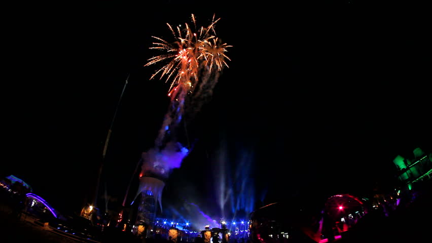CRIMEA, UKRAINE – 03 AUGUST 2013 – Official opening of Kazantip festival. Fireworks due to opening. | Shutterstock HD Video #4399133