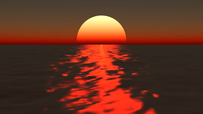 Animated sunset over the ocean #4405499