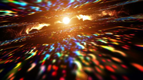 Abstract motion background in rainbow colors, shining lights, energy waves  and sparkling  particles, seamless looping.