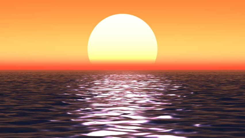 Animated sunset over the ocean #4408310