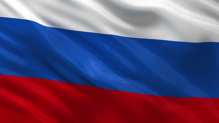 Seamless loop of the Russian flag waving in the wind. Very highly detailed flag with glossy fabric.