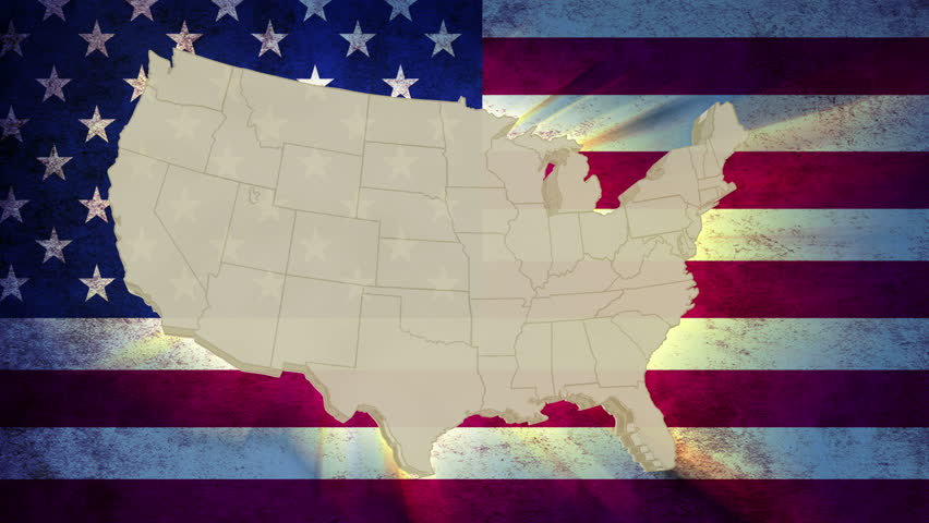 Unites States America map with national flag, old glory
