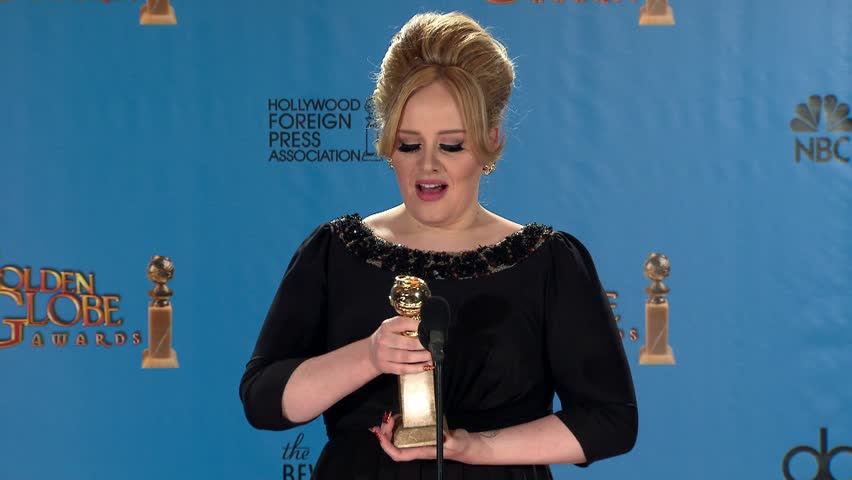 BEVERLY HILLS - January 13, 2013: Adele at the Golden Globe Awards 2013 Press Room in the Beverly Hilton Hotel in Beverly Hills January 13, 2013