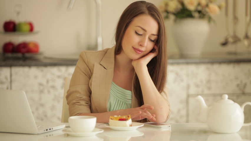 Cute Girl Sitting At Kitchen Stock Footage Video 100 Royalty Free 4464059 Shutterstock