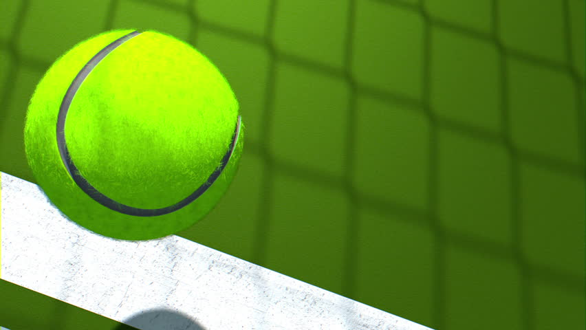 Animated realistic tennis ball falling down on curt. Computer generated | Shutterstock HD Video #4469471