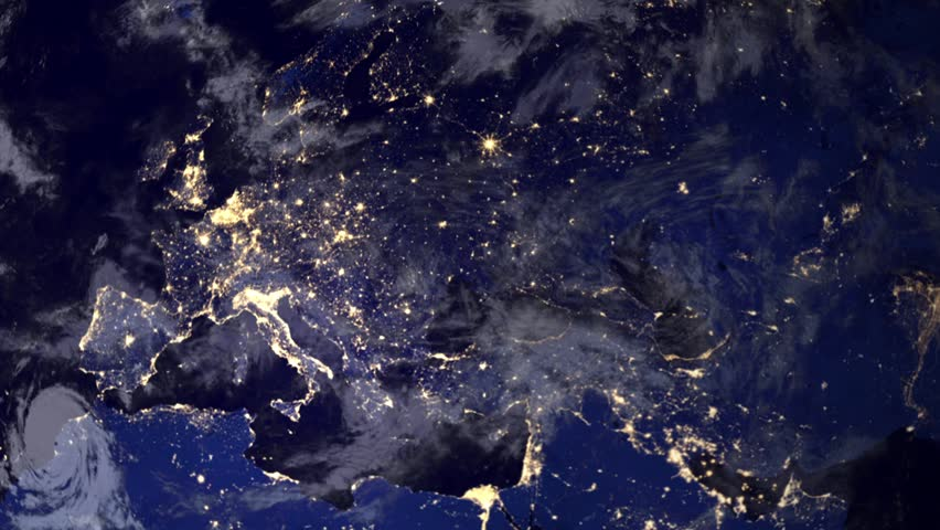 Telecommunication satellite over earth, Europe night space view.. Cinema quality animation. Focus changes from earth to satellite. Telecommunication satellite orbiting the Earth. NASA PD image used.