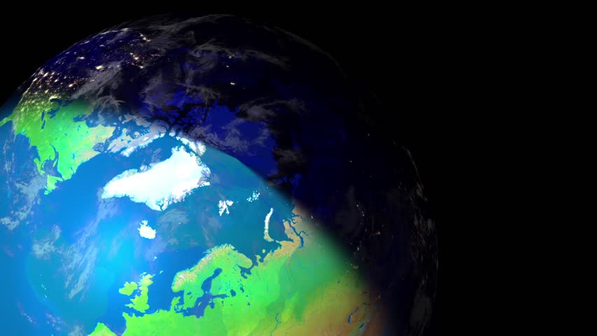 Earth view from space LOOP. North side and north pole changes from day to night while rotate. A layer of clouds could be seen. Alpha chanel at the end of video footage. #4479902