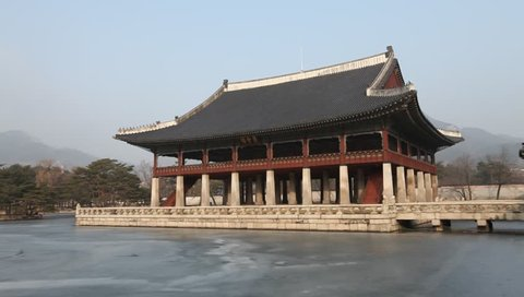 Gyeonghoeru Pavilion, Korean Traditional Architecture in the Gyeongbokgung Palace, Seoul, South Korea.