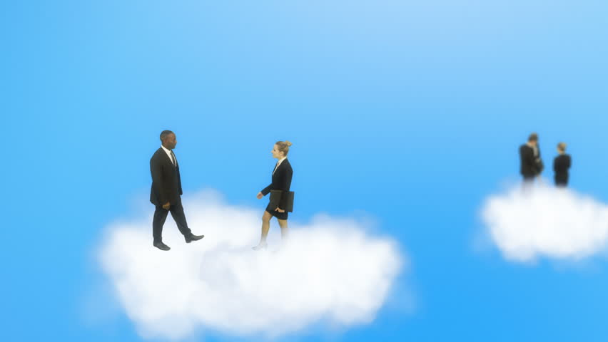 Cloud computing concept with business people Royalty-Free Stock Footage #4483949