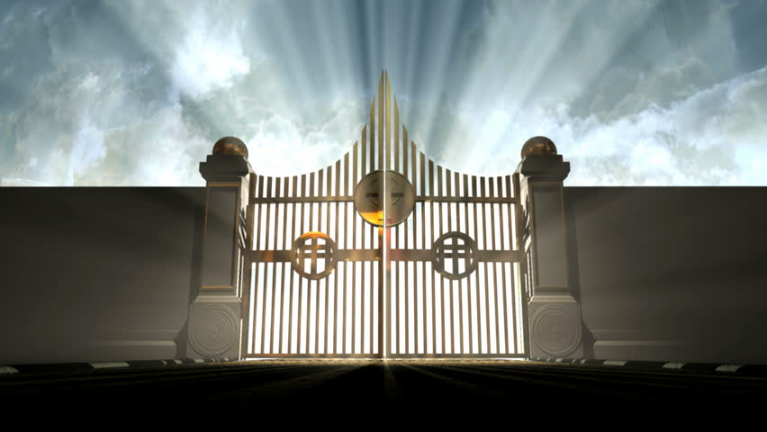 A camera moving towards heavens golden gates opening to a blinding ethereal light on a cloudy background