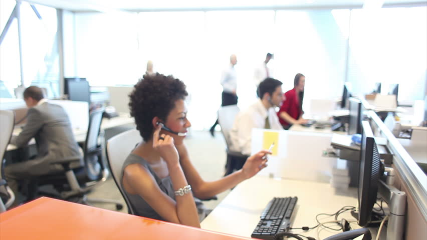 Customer services call centre team on telephones. High quality HD video footage | Shutterstock HD Video #4493240