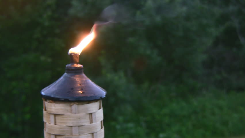 Flame From A Tiki Torch Light At Early