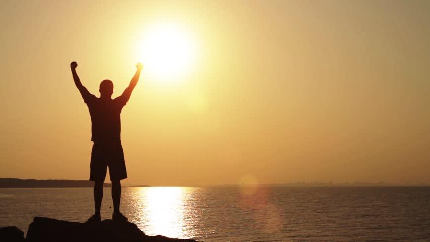 Success Pose Sunset Cliff Traveler Hands Up Concept HD | Shutterstock HD Video #4540688