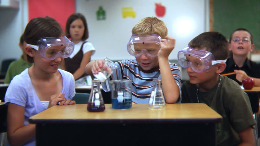 Elementary school students doing a science experiment #4541198