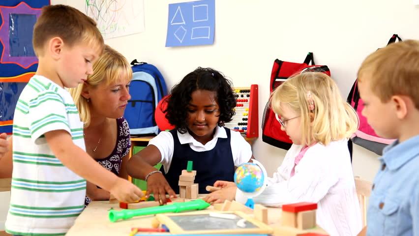 Preschool kids with teacher