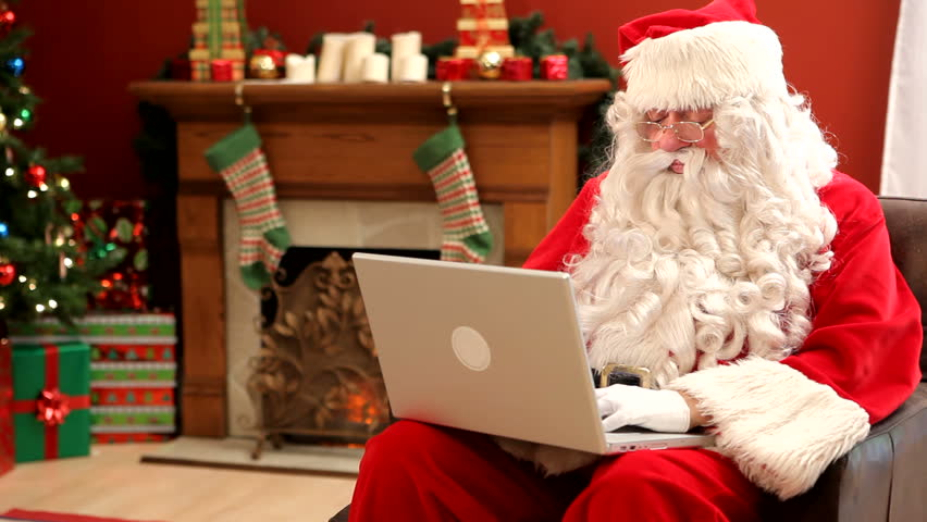 Santa Claus Sitting with Laptop Stock Footage Video (100% Royalty-free) 4562000 | Shutterstock