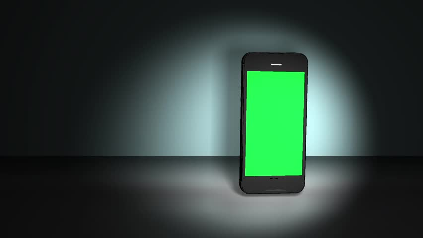 Smart Phone Feature Animation GREEN CHROMA KEY. Highly detailed smart phone spinning over lit background. The green chrome display is perfect for tracking and adding you own photos or videos