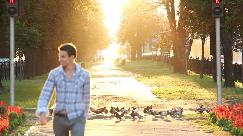 Running man in heaven boulevard scaring birds, enjoying life | Shutterstock HD Video #4572683