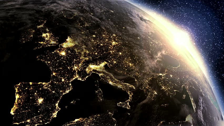 High detailed. 3d Render using satellite imagery (NASA).  Planet earth Europe zone with night time and sunrise from space.