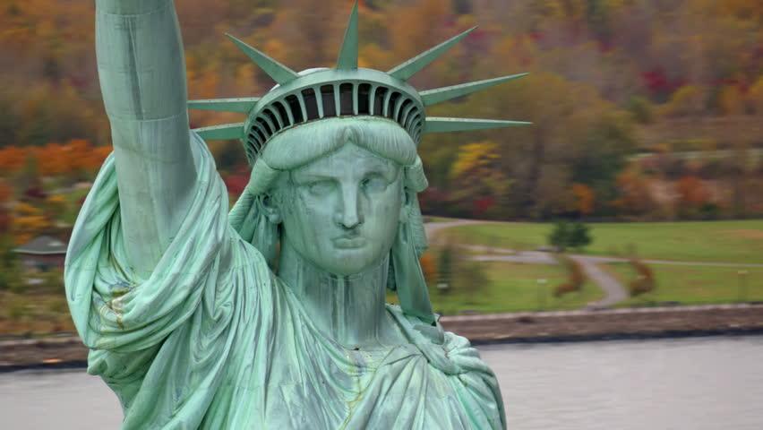 Statue of Liberty closeup, aerial shot | Shutterstock HD Video #4580093