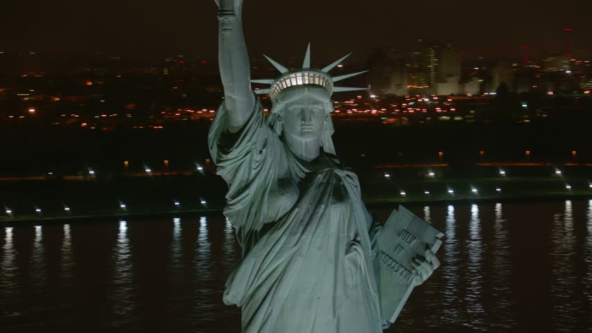 Statue of Liberty at night, aerial shot | Shutterstock HD Video #4580138