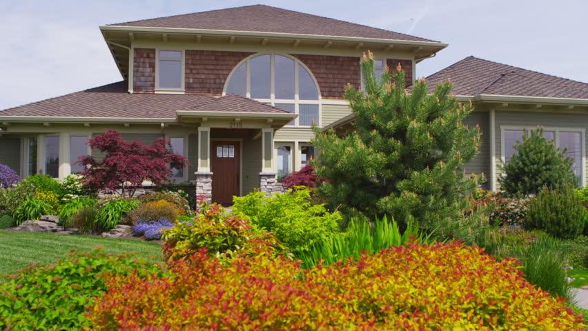 Custom home exterior, jib up