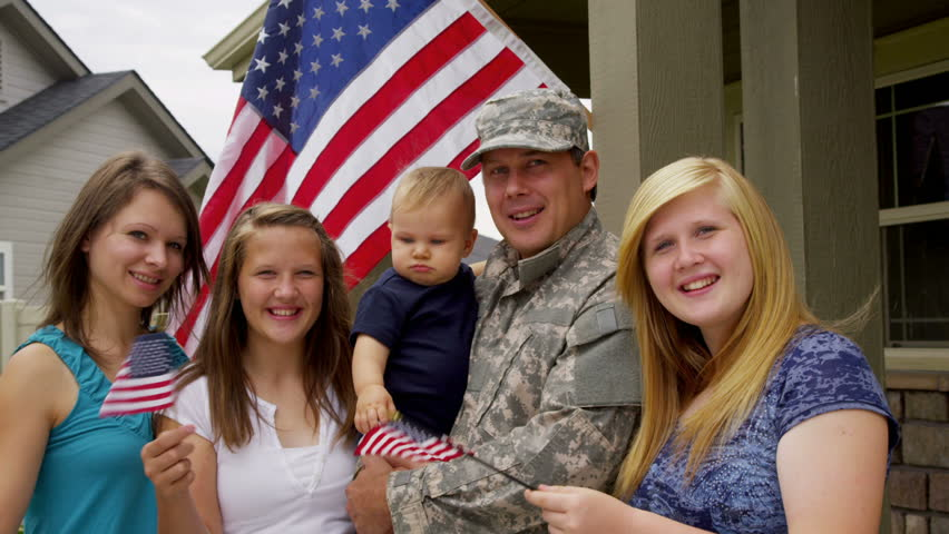 Portrait of American military family
