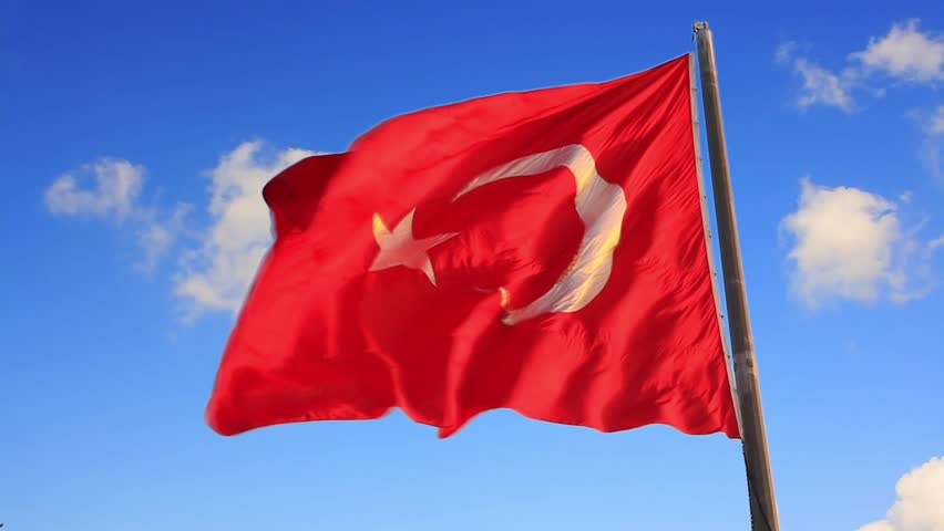 Turkish Flag waving on the sky. Slow motion, loop, high definition video