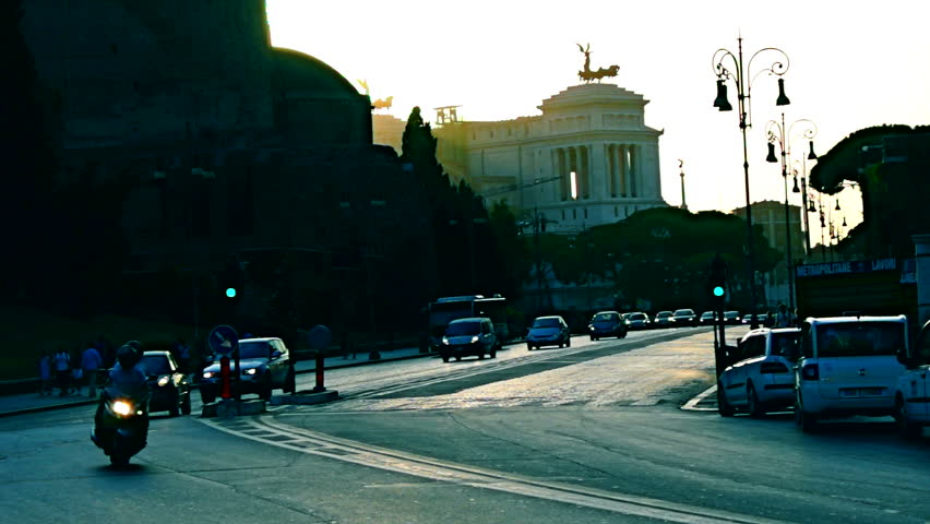 Rome rush-hour traffic Victor Emmanuel Monument and Roman Forum | Shutterstock HD Video #4595888