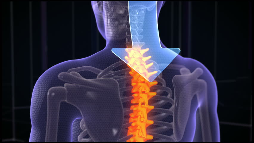 Animation of abstract arrow that cure neck pain. Focused on spine. Futuristic background
