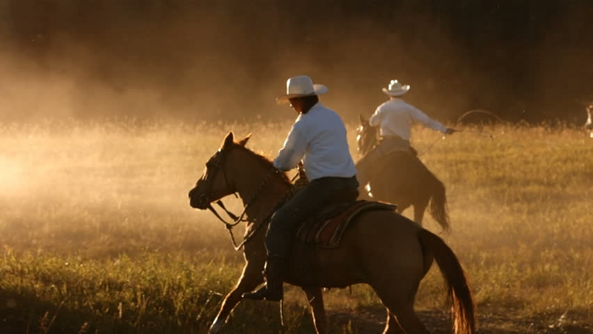 Cowboy on horses at sunset, slow motion | Shutterstock HD Video #4617530
