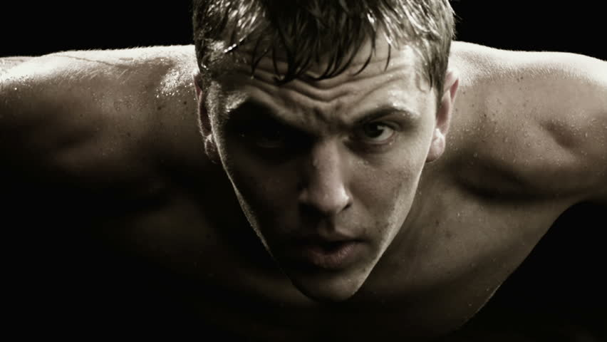 A close up of man doing push ups and sweating | Shutterstock HD Video #4618634