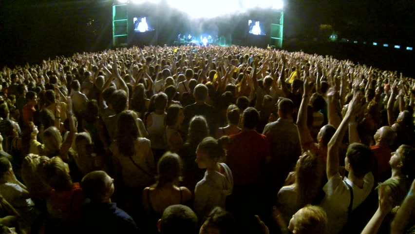 Crowd at a rock concert, back light silhouette  | Shutterstock HD Video #4633106