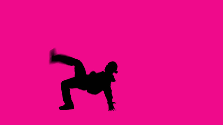 Pink background and vibrant dancer in the foreground.