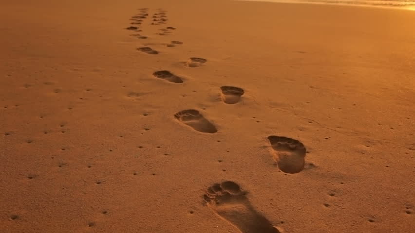 Footprints in the Sand at Stock Footage Video (100% ...