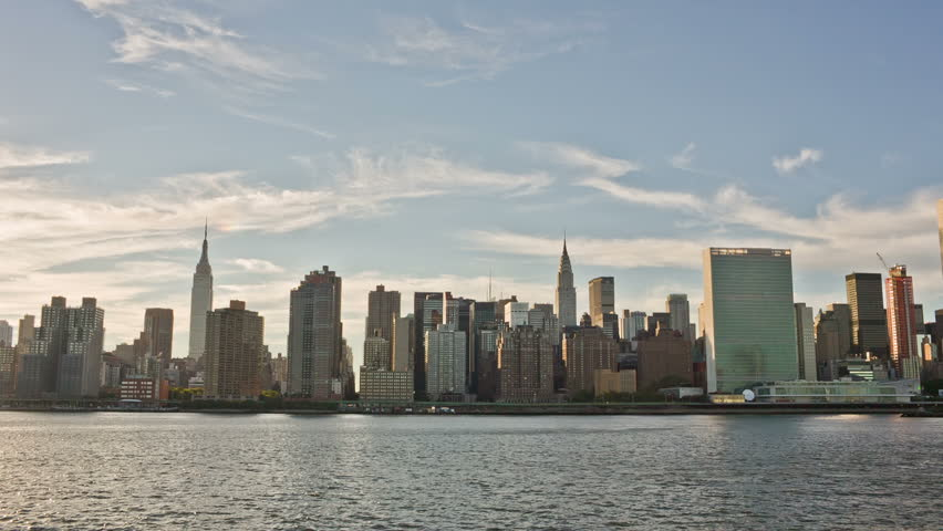 NEW YORK - SEPTEMBER 9: Manhattan Skyline during the day on September 9, 2013 in New York. Manhattan is New York City's smallest yet most populous of its five boroughs. | Shutterstock HD Video #4652399