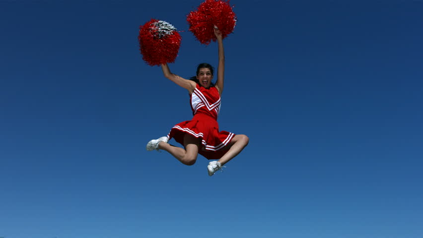 Cheerleader flies into the air, slow motion #4656434