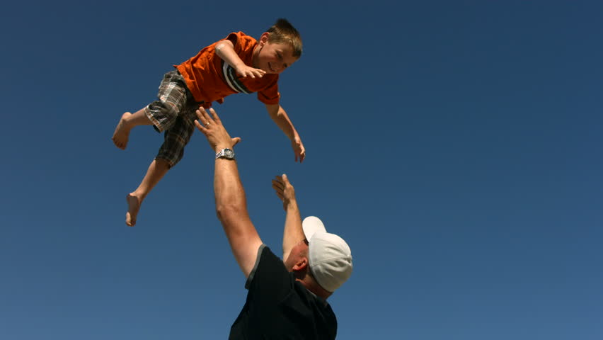 Father Throwing Son in Air, Stock Footage Video (100% ...