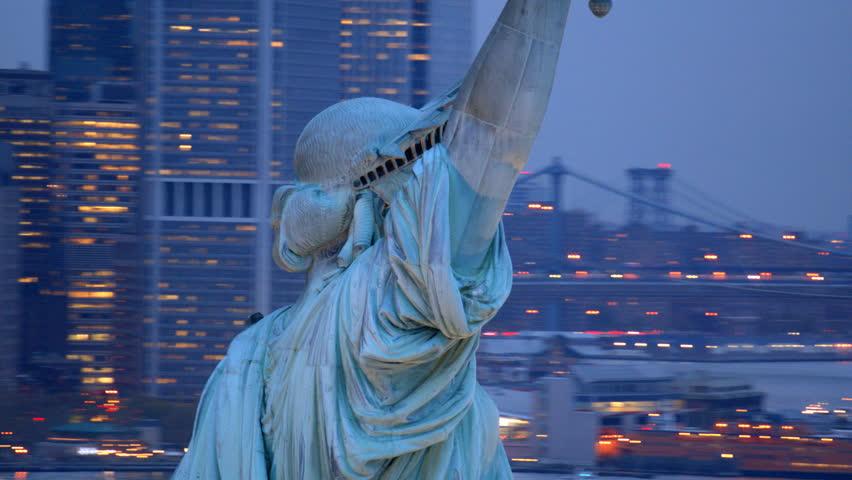 Statue of Liberty at dusk, closeup aerial shot | Shutterstock HD Video #4662035