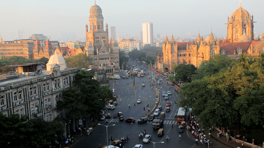 Mumbai cityscape with traffic congestion near Heritage buildings and Victoria Terminus statoin in Mumbai, India | Shutterstock HD Video #4665173