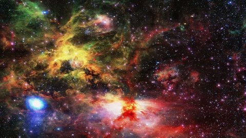 Flight through universe with galaxies and nebulas.