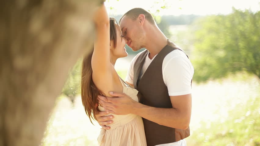 Gorgeous young couple hug each other in romantic scenery. Medium shot. #4686617