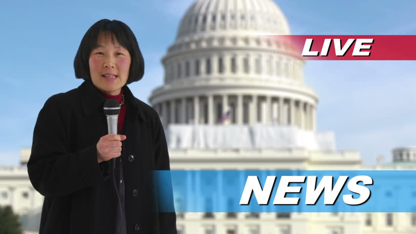 News reporter talking in front of US Capitol building Royalty-Free Stock Footage #4693310
