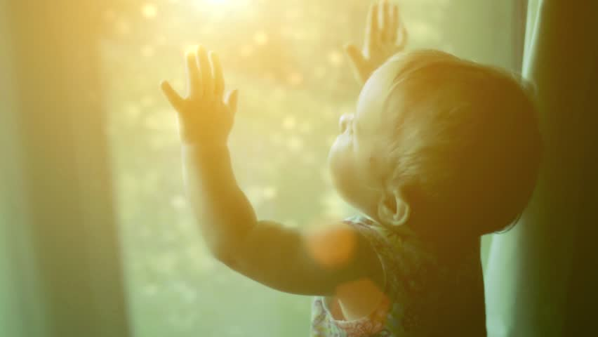 The child looks at the magic behind the window