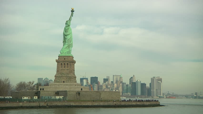 NEW YORK - CIRCA OCTOBER 2011 - Statue of Liberty at Liberty Island, with Manhattan skyline on the background, POV from a boat in October 2011. | Shutterstock HD Video #4739078