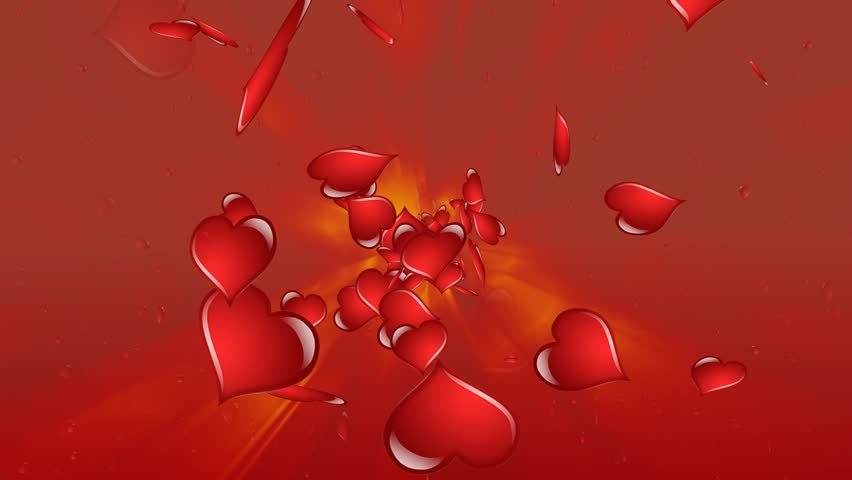 Flaming Red Rotating Love Hearts - valentine's day background loopable