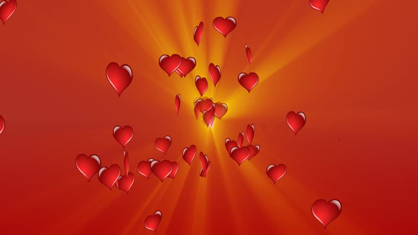 Flaming Red Tumbling Love Hearts - valentine's day background loopable