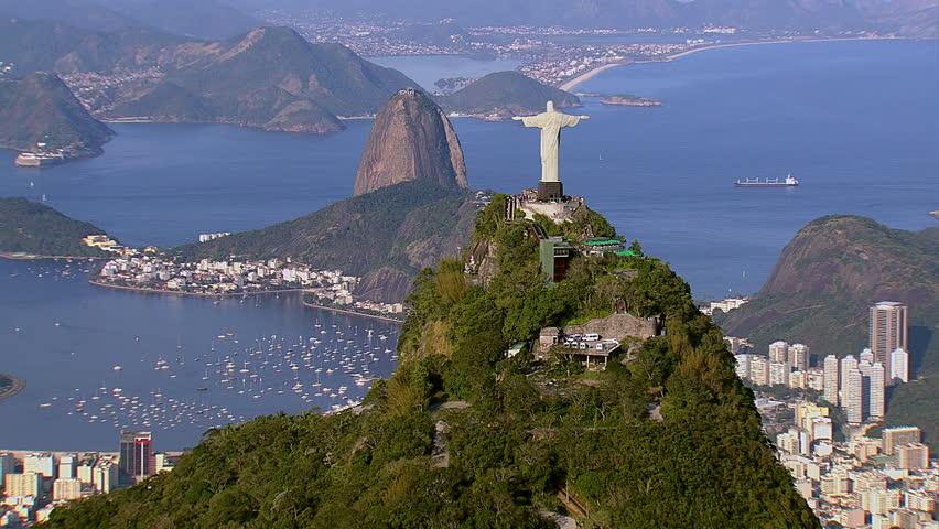 Aerial view of Christ the Redeemer and Sugarloaf, Rio de Janeiro, Brazil