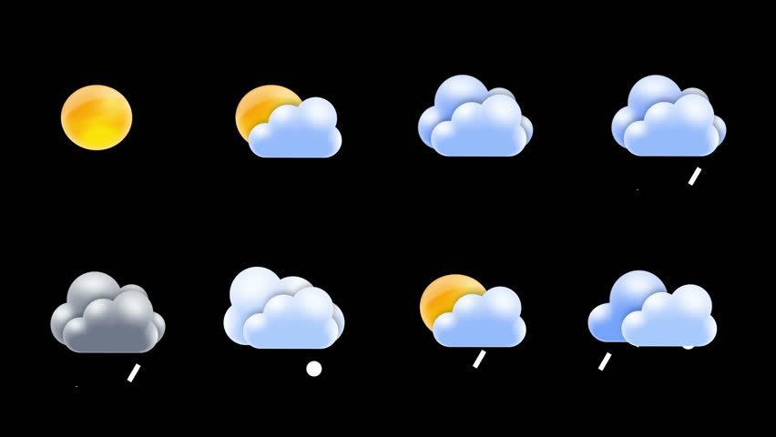 Weather icons set loop with alpha matte | Shutterstock HD Video #4770971